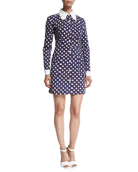 Carven Collared Clover Twill Shirtdress