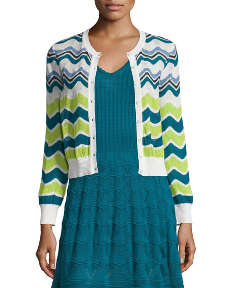 M Missoni Ripple-Striped Short Cardigan, White