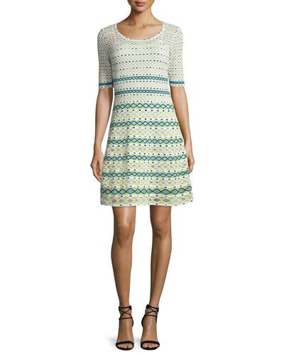Half-Sleeve Round-Neck Knit Dress, White/Green