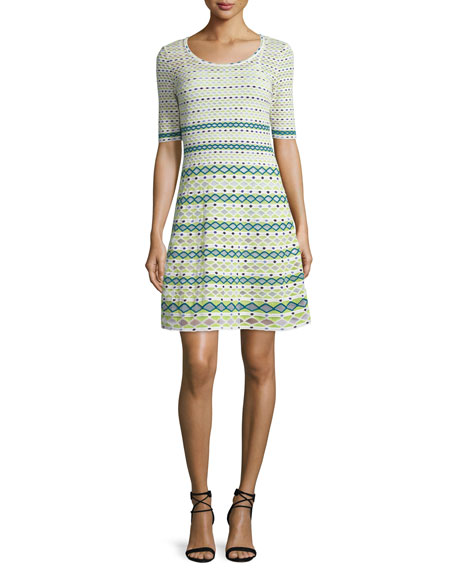 M Missoni Half-Sleeve Round-Neck Knit Dress, White/Green