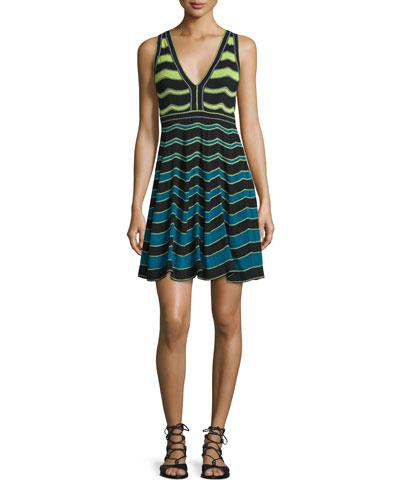 Sleeveless Ripple-Stitch Dress, Teal