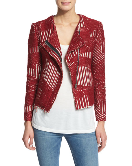 Mepsie Tweed Multipattern Jacket, Red