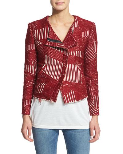 Mepsie Tweed Multipattern Jacket, Red