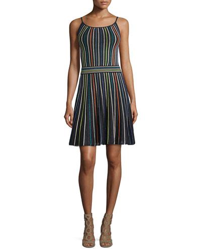 Micro-Striped Fit-&-Flare Dress, Black