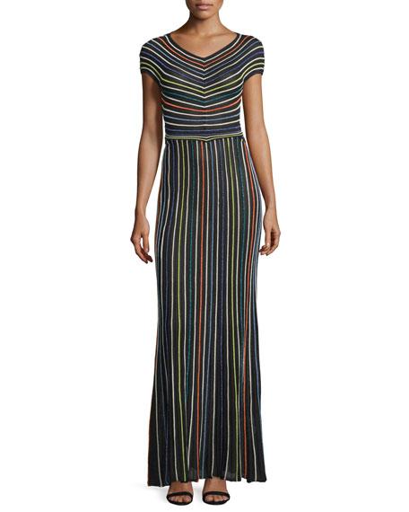 M Missoni Short-Sleeve Micro-Striped Maxi Dress, Black