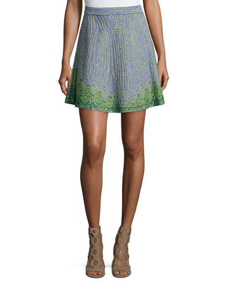 M Missoni Beaded Jacquard A-Line Skirt, Sky Blue