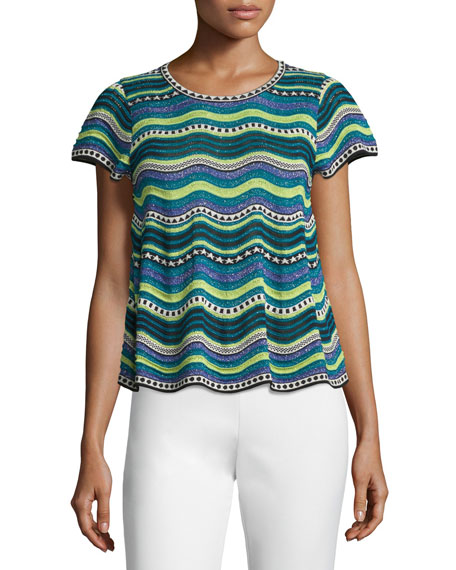 M Missoni Short-Sleeve Star-Striped Top, Teal Metallic