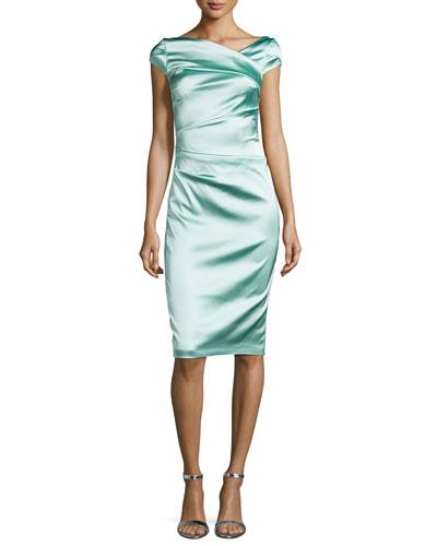 Cap-Sleeve Pleated Cocktail Dress, Reseda
