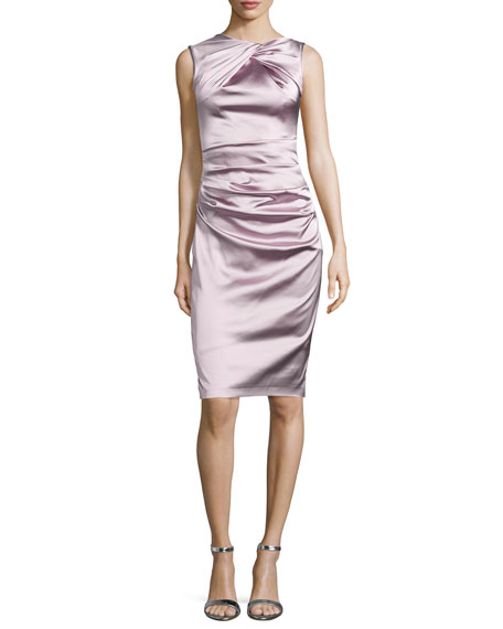 Talbot Runhof Sleeveless Ruched Cocktail Dress, Marble