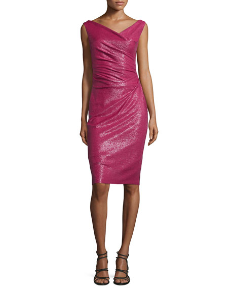 Talbot Runhof Sleeveless Ruched Cocktail Dress, Fraise