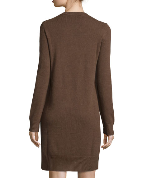Long-Sleeve Cashmere Sheath Dress, Cocoa