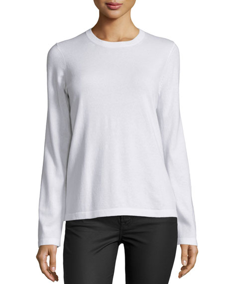 Michael Kors Collection Long-Sleeve Jewel-Neck Sweater, White