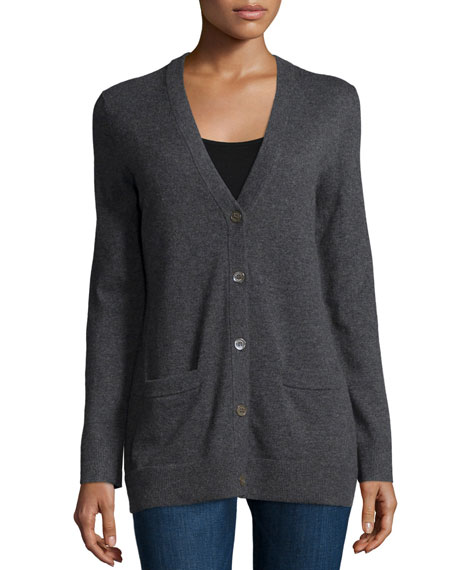Long-Sleeve Button-Front Cardigan, Charcoal