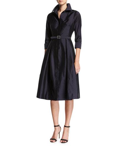3/4-Sleeve Belted Midi Shirtdress