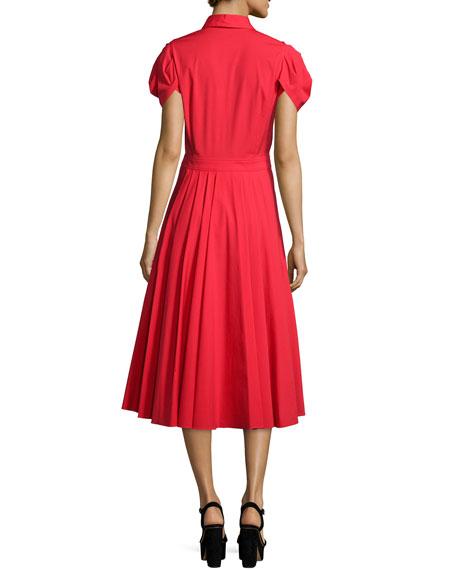 Short-Sleeve Button-Front Shirtdress, Scarlet