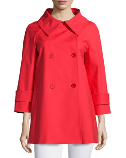3/4-Sleeve Double-Breasted Peacoat, Scarlet