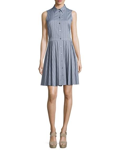 Sleeveless Button-Front Shirtdress, Black/Ice/White