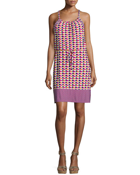 Laundry by Shelli Segal Sleeveless Printed Dress W/Drawstring,
