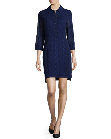 Laundry by Shelli Segal 3/4-Sleeve Embroidered Shirtdress,