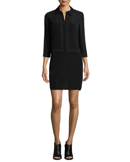 Laundry By Shelli Segal 3/4-Sleeve Combo Shirtdress, Black