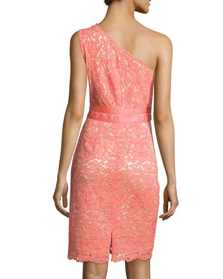 One-Shoulder Lace Sheath Dress, Vintage Coral