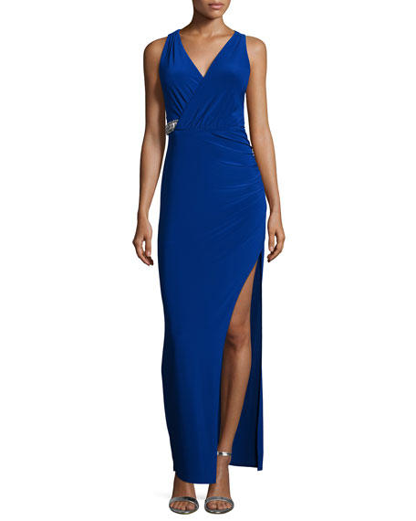 Laundry by Shelli Segal Sleeveless Faux-Wrap Embellished Gown, Blue Beret