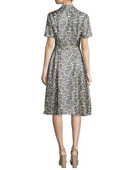 Short-Sleeve Paisley-Print Shirtdress, Pale Yellow