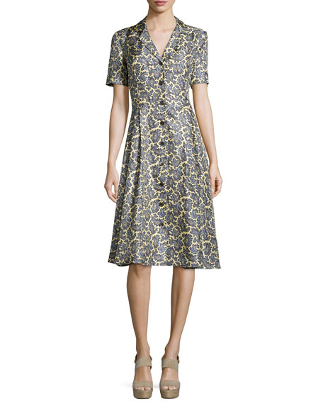 Short-Sleeve Paisley-Print Shirtdress, Pale Yellow