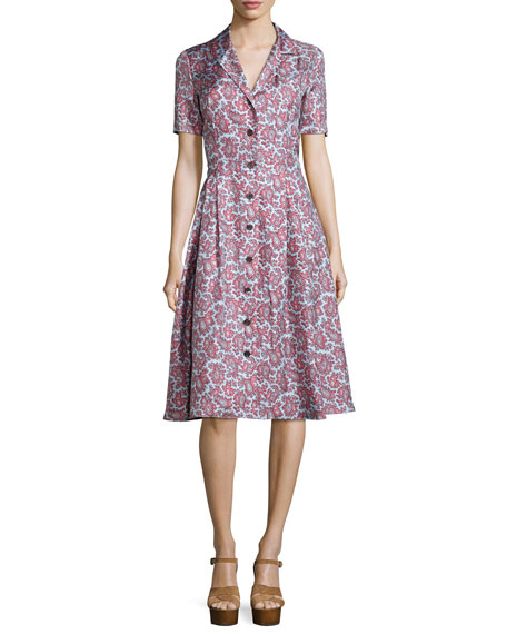 Michael Kors Collection Short-Sleeve Paisley-Print Shirtdress,