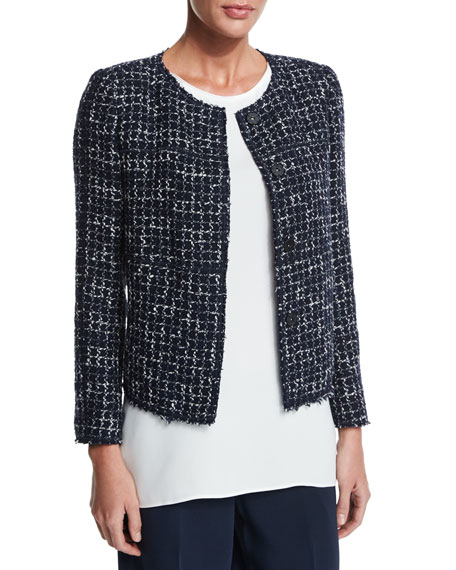 Dani Tempered Tweed Snap-Front Jacket