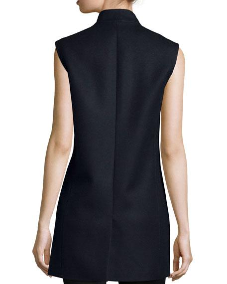 Open-Front Boyfriend Vest, Navy