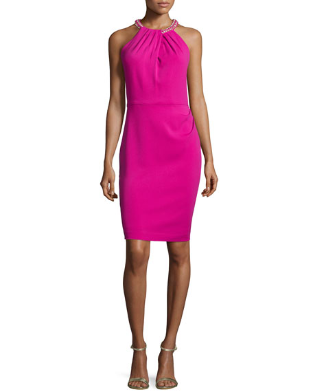 Laundry by Shelli Segal Embellished-Neckline Sheath Dress,