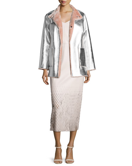 Tire Tread Laser-Cut Maxi Dress, Dusty Pink