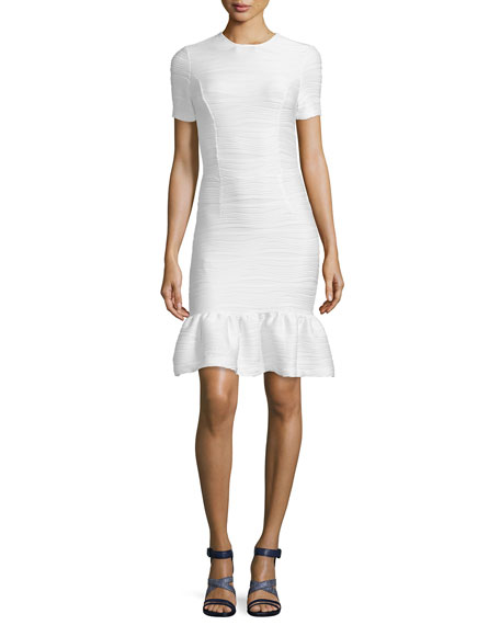 Opening Ceremony Lotus Wavy Stripe Flounce-Hem Dress, White
