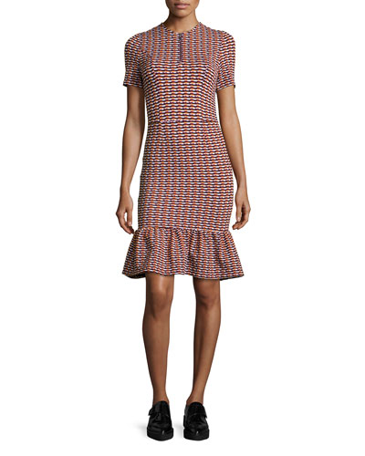 Opening Ceremony Lotus Check Stretch Flounce-Hem Dress