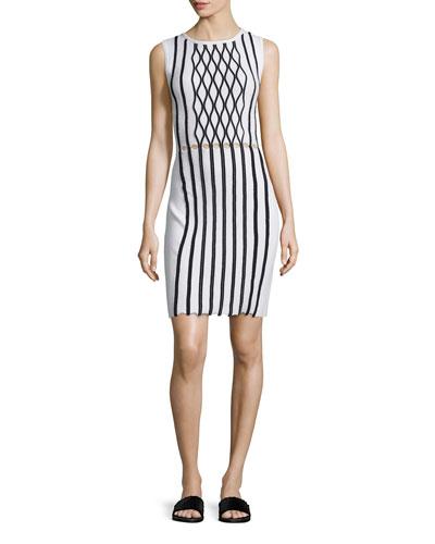 Sleeveless Argyle Stitch Dress, White Multi