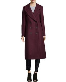 Melton Double-Breasted Long Coat, Bordeaux
