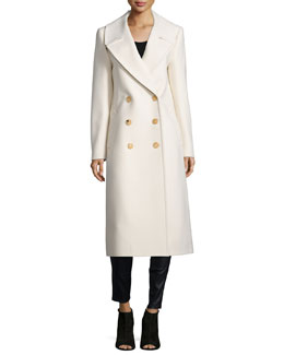 Melton Double-Breasted Long Coat, Vanilla