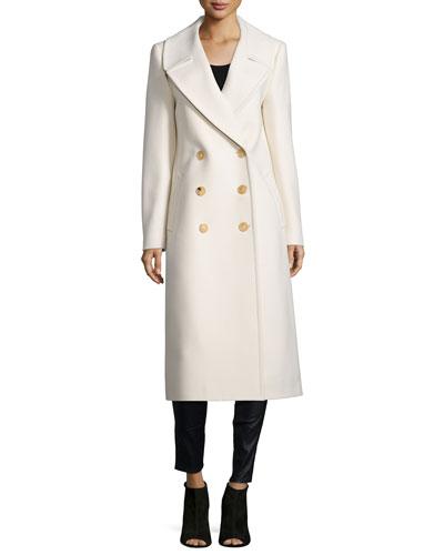 Melton Double-Breasted Long Coat, Vanilla