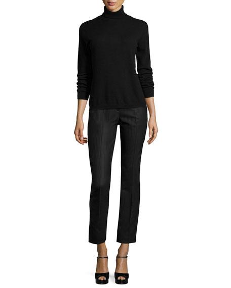 Samantha Slim-Leg Pinstripe Pants, Charcoal Melange