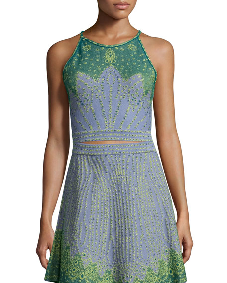 M Missoni Sleeveless Jacquard Crop Top, Sky Blue
