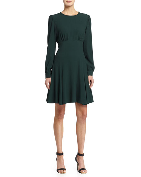 Long-Sleeve Flare Mini Dress, Forest