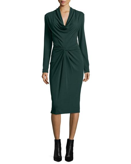 Michael Kors Collection Long-Sleeve Cowl-Neck Sheath Dress,