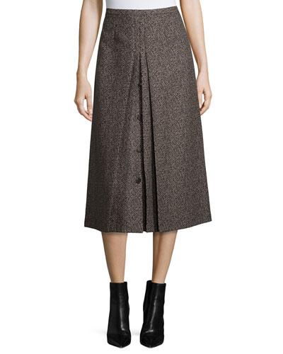High-Waist A-Line Skirt, Chocolate/Taupe