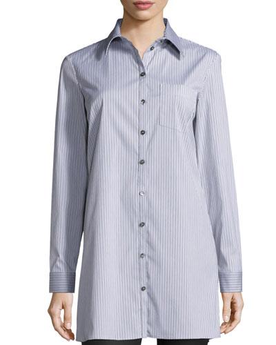 Button-Front Skinny-Stripe Long Shirt, Black