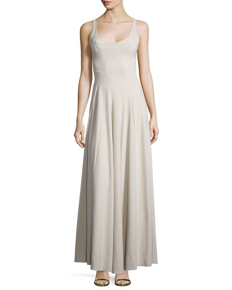 ZAC Zac Posen Sleeveless Scoop-Neck Gown, Silver