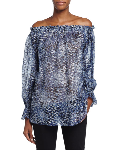 Michael Kors Collection Off-the-Shoulder Fil Coupe Top, Chambray