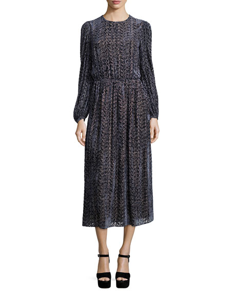 Michael Kors Collection Long-Sleeve Drop-Waist Devore Dress,