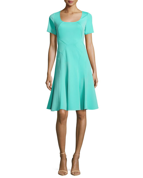ZAC Zac Posen Aura Short-Sleeve Fit-&-Flare Dress, Lagoon