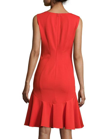 Karen Sleeveless Flounce-Skirt Dress, Poppy
